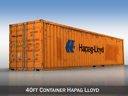 100 Shipping Container Model 40ft Hapag Lloyd 3D