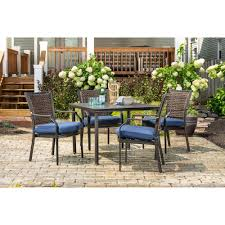 Hanover Mercer 5-Piece Patio Dining Set In Navy Blue With 4 Cushioned  Dining Chairs And A 40-Inch Square Table, MERCDN5PCSQ-NVY Fairy Contemporary Fabric Ding Chairs Set Of 2 Navy Blue Shelby Chair In Channel Tufted Velvet By Meridian Fniture Hanover Mcer 5piece Patio With 4 Cushioned And A 40inch Square Table Mercdn5pcsqnvy Colston Silver Leaf Including Brookville Harley Traditional Microfiber Details About Bates New Opal Room Gold William