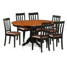 East West Furniture Avon 7-PC Solid Wood Dining Set In Black ... Vintage Kitchen Table And Chairs Set House Architecture Design Shop Greyson Living Malone 70inch Marble Top Ding Westlake Transitional Cherry Wood Pvc Leg W6 The 85ft W 6 Forgotten Fniture Homesullivan 5piece Antique White And 401393w48 Plav7whiw Rubberwood 7piece Room Free Shipping Cerille Rustic Brown Of 2 By Foa Amazoncom America Bernette Round East West Niwe6bchw Pc Table Set With A