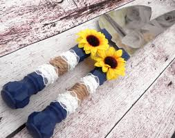 Rustic Sunflower Wedding Cake Server And Knife Set Navy Blue
