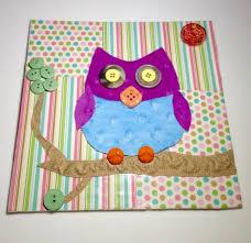 Button Canvas Owl Nursery Decor Multi Media Canvas Art Whimsic