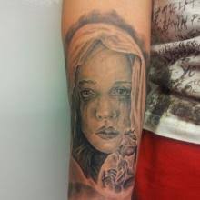 Big Tattoo Planet Angel Black And Grey Face