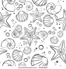 Shells and Starfish In Black and White Clipart
