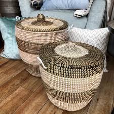 baskets basics korb mit deckel groß natur weiß und schwarz streifen