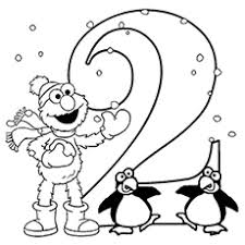 Elmo Learn Number 2 With Penguins Coloring Pages