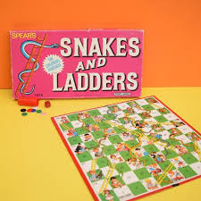 Vintage 1980s Snakes Ladders Board Game