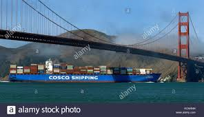 100 Shipping Containers San Francisco Cosco Shipping Container Ship Bohai Sea Steams Under The Golden Gate