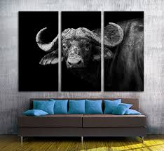 Buffalo Black And White 3 Panel Split Canvas Print