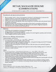 Retail Manager Qualifications Summary Sample For Resume Examples