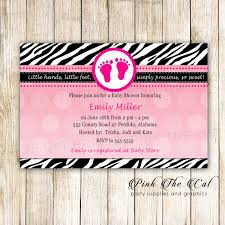 Footprints Invitation Baby Shower Zebra Hot Pink Printable Pink