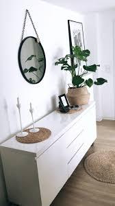 weißes sideboard runder schwarzer spiegel schwarz weiß