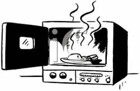 Royalty Free Clipart Image Black and White Food In a Microwave Oven