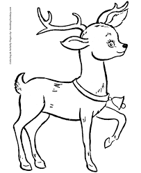 Cute Santas Reindeer With A Bell Coloring Page