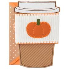 Pumpkin Picking Connecticut Shoreline by Peace Love And Pumpkin Spice Autumn Card With Coffee Cozy