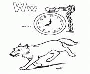 Wolf And Watch Free Alphabet Coloring Pages