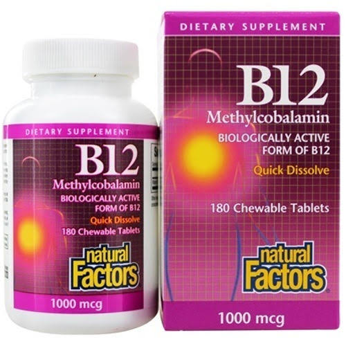 Natural Factors B12 Methylcobalamin Supplement - 180 Chewable Tablets