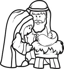 Cartoon Printable Christmas Coloring Page For Kids Of Mary Joseph And Baby Jesus