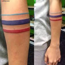Colorful Armband Tattoo Design For Funky Women