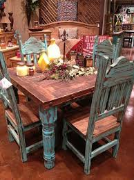 Western Dining Room Sets Love The Rustic Turquoise Table Building Our Little Castle 18