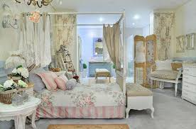 French Style Bedroom With Romantic Cottage Design And White Color Scheme Pastel Blue Shades For Wainscoting Floral Pattern Wallpaper Also Rustic