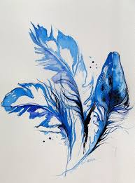 Original Abstract Birds Blue Feathers Watercolor Painting