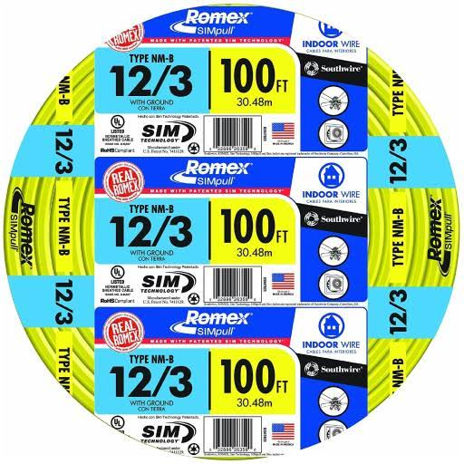 Southwire 63947628 NMB Wire - Yellow, 12/3 Gauge, 100'
