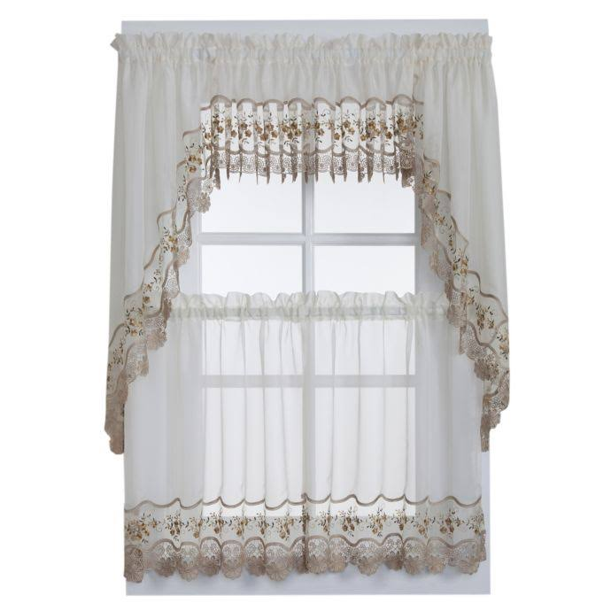 Vintage Sheer Window Curtain Valance in Ecru/Gold
