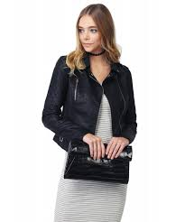 quilted sleeve classic rider style faux leather jackets