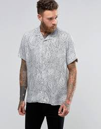 asos viscose shirt with embroidered floral design and revere