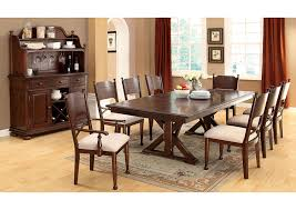 Descanso Brown Cherry Cross Leg Extension Leaf Dining Table W 6 Side Chairs Furniture