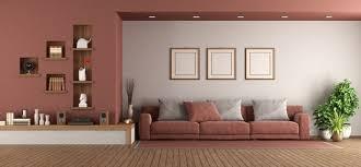 modernes wohnzimmer mit sofa und nische an der wand