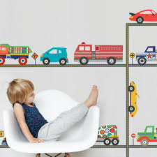 Terrific Trucks And Cool Cars Wall Decals & Straight Road, Matte, Fabr