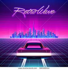 80s Retro Sci Fi Background Vector Futuristic Synth Wave Illustration In 1980s