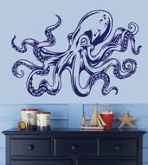 For Tom Octopus Kraken Tentacle Wall Decal 22H X 33W By Stickitthere 3500
