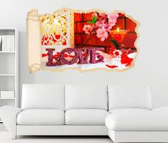 3d wandtattoo tapete liebe blumen blume rot text schlafzimmer vintage durchbruch selbstklebend wandbild wandsticker wohnzimmer wand aufkleber
