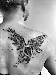 8Sketchy Fallen Angel Back Tattoo