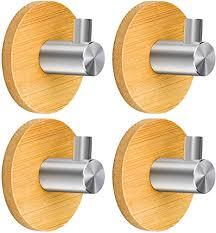 karaa 4 pcs haken handtuchhaken klebehaken holz selbstklebend bademantelhaken edelstahl bambus kleiderhaken wandhaken handtuchhalter ohne bohren bad