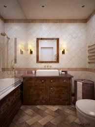 foto auf lager klassisches badezimmer mit holzmöbeln und wänden in beige fliesen