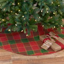 Tristan Red And Green Windowpane Plaid Christmas Tree Skirt 48