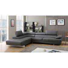 canapé grand angle canapé grand angle en cuir avec têtières réglables vittoria gris