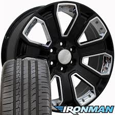 100 Black And Chrome Rims For Trucks 22x9 Wheels Fits GMC Chevy Silverado CV93 With