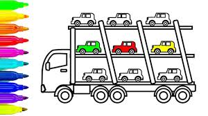 Learn Colors For Kids With Car And Truck Coloring Pages Fun Colouring B