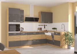 küche eiche artisan ecke grau küchenzeile hochglanz küchenblock einbauküche