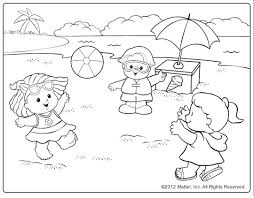 Beach Scene Coloring Pages Kids Tflfna Printable Page