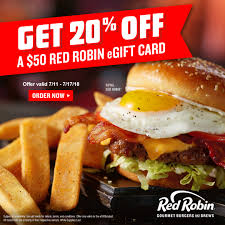 $10 Off $50 Red Robin EGift (Online Only) $40 - Slickdeals.net Celebrate Sandwich Month With A 5 Crispy Chicken Meal 20 Off Robin Hood Beard Company Coupons Promo Discount Red Robin Anchorage Hours Fiber One Sale Coupon Code 2019 Zr1 Corvette For 10 Off 50 Egift Online Only 40 Slickdealsnet National Cheeseburger Day Get Free Burgers And Deals Sept 18 Sample Programs Fdango Rewards Come Browse The Best Gulf Shores Vacation Deals Harris Pizza Hut Coupon Brand Discount Mytaxi Promo Code Happy Birthday Free Treats On Your Special