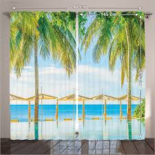 Tropical Window Art Curtains by Window Panel Curtains Living Room Bedroom Tropical Beach Pool