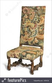 Antique Early Tapestry Covered High Backed Chair On White ...