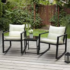 PAMAPIC Outdoor 3-Piece Rocking Bistro Set, Black Wicker Patio Rocking  Chairs-Two Chairs With Seat And Back Cushions (Beige) & Sophisticated Glass  ...