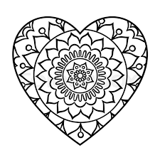 Doodle Heart Mandala Coloring Page Outline Floral Design Element In A Shape Book Pattern Decorative Round Flower