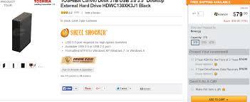 toshiba canvio desk 3tb usb 3 0 external hard drive for 79 99
